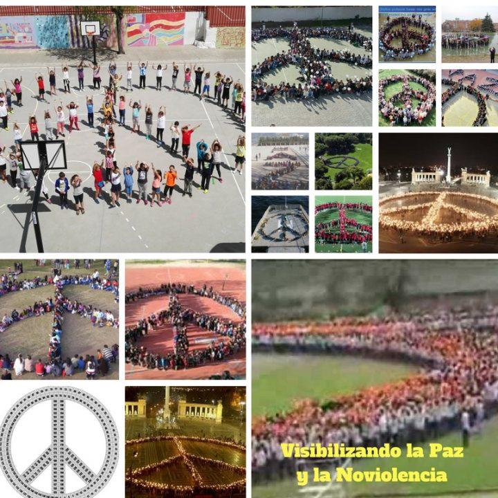 Human peace and nonviolence symbols in schools