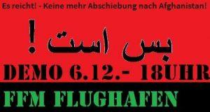 Protestaufruf gegen Sammelabschiebung nach Afghanistan am 6.12. am Frankfurter Flughafen