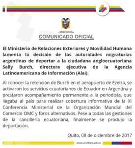 Cancillería ecuatoriana rechaza deportación de periodista de la Argentina