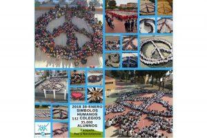 35 000 élèves de 132 centres éducatifs ont réalisé des symboles humains lors de la campagne « Paix et Non-violence »