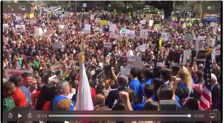 #NeverAgain: Parkland students lead thousands in rally to demand gun control legislation