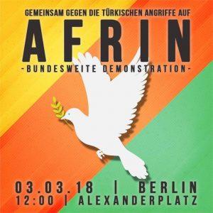 Freiheit für Afrin – bundesweite Demonstration gegen die türkische Aggression