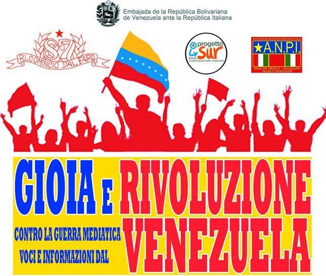Gioia e Rivoluzione. Voci ed informazioni dal Venezuela; iniziativa ANPI a Roma