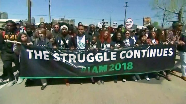 10,000 March in Memphis to Honor the Rev. Martin Luther King Jr.