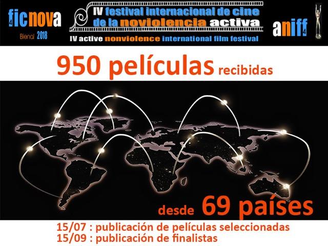 950 films de 69 pays inscrits au IVème Festival International du Cinéma de la Nonviolence Active, le FICNOVA