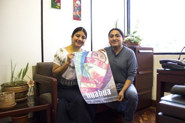 """Citlalli Andrango Cadena y Joshi Espinosa Anguaya, productora y director de """"Huahua"""": docuficción sobre la identidad kichwa en un mundo globalizado."""