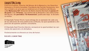 """Donación de """"El Humanista"""" al Museo de la Memoria y los Derechos Humanos"""