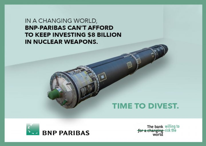 Global protests at BNP Paribas offices: End support for nuclear weapons production!