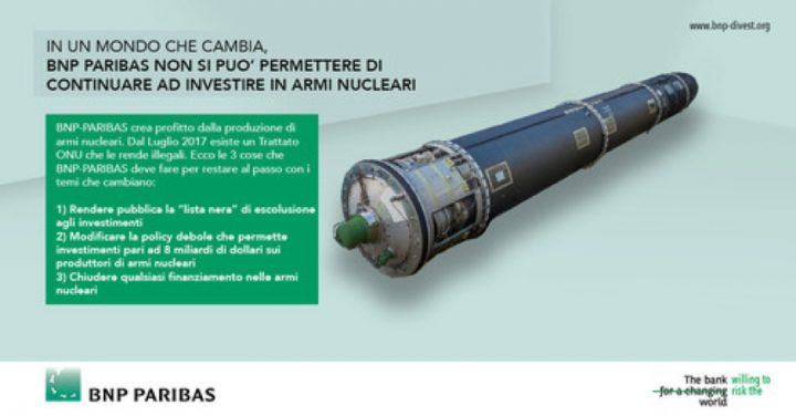 Nella Giornata ONU per l'abolizione delle armi nucleari azioni in 13 Paesi contro la banca che le sostiene con 8 miliardi di dollari