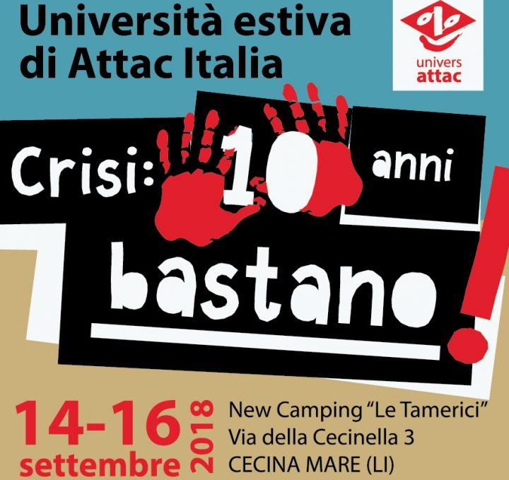 """A Cecina (LI) l'Università di Attac Italia """"CRISI: 10 ANNI BASTANO"""""""