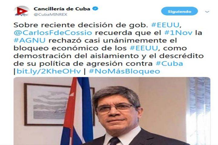 Cuba denuncia agresión de Estados Unidos