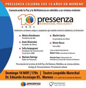 En Argentina, la agencia internacional de noticias de Paz y No Violencia Pressenza celebra su 10° aniversario en Moreno