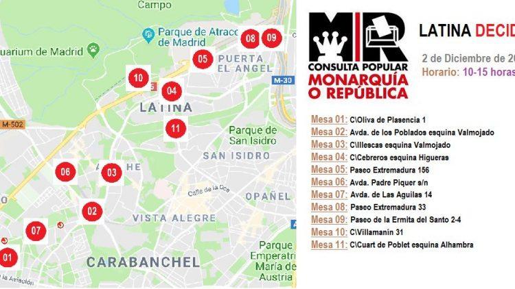 Puntos de votación en el Distrito de Latina