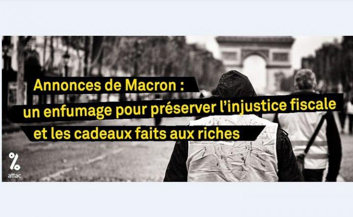 [Gilets jaunes] Annonces de Macron : un enfumage pour préserver l'injustice fiscale et les cadeaux faits aux riches
