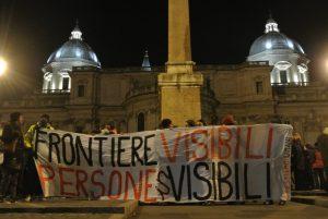 """Rete Restiamo Umani: a Roma il presidio """"Frontiere visibili persone invisibili! All migrants are welcome"""""""