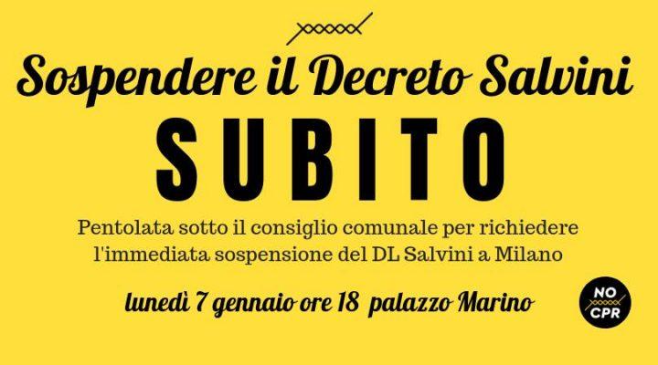 Sospendere il Decreto Salvini subito! Pentolata a Palazzo Marino
