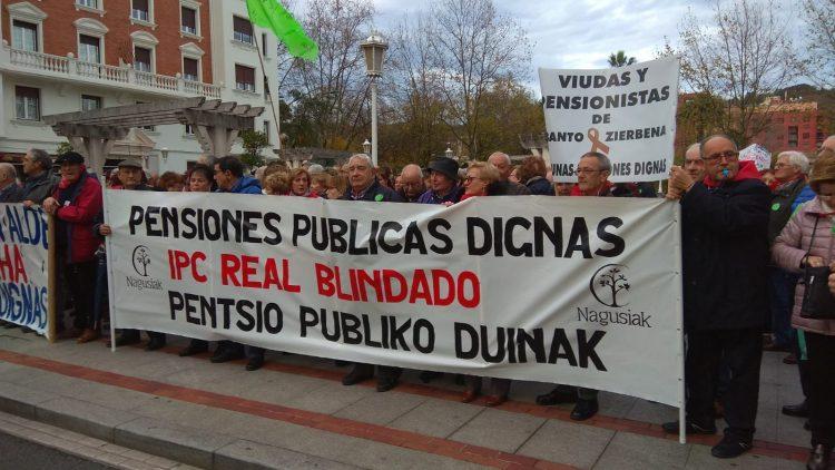 Movilizaciones en Bilbao por el blindaje de las pensiones públicas. Nagusiak
