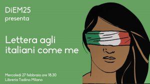 DiEM25 presenta 'Lettera agli Italiani come me'