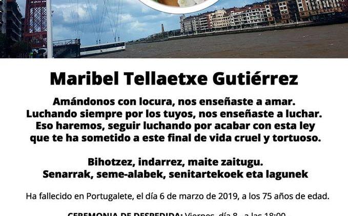 Fallece Maribel SOS Amatxu petición Eutanasia