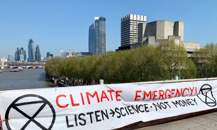 Urgence climatique : Protestation d'Extinction Rebellion à Londres