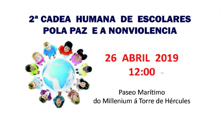 2ª Human chain of school children for Peace and Nonviolence – A Coruña
