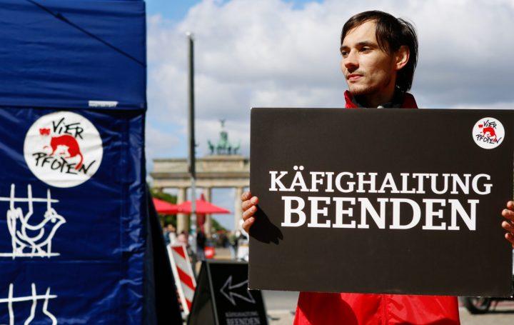 Tierschutz-Aktion in Berlin zur Beendigung der Käfighaltung und als Auftakt zur europaweiten Aktionswoche für die Europäische Bürgerinitiative End the Cage Age #EndTheCageAge