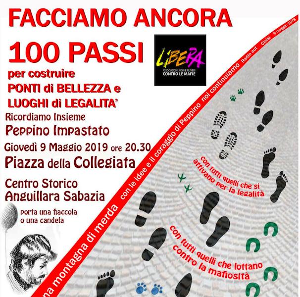 """Anguillara, Presidio Libera: """"Facciamo ancora 100 passi"""" in ricordo di Peppino Impastato"""