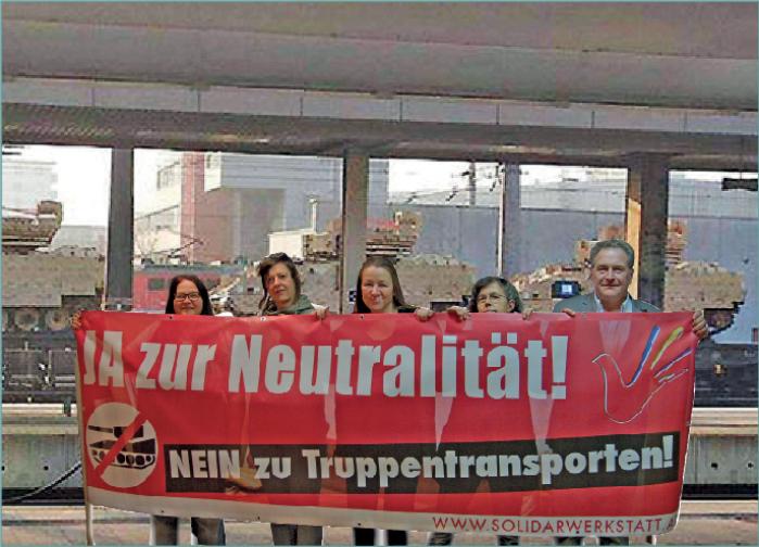 """Kundgebung: """"Stopp den NATO-Truppentransporten durch Österreich! Ja zur Neutralität!"""""""