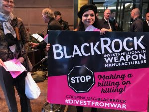 A Call to Invest in Peace Rally at the BLACKROCK shareholders' meeting