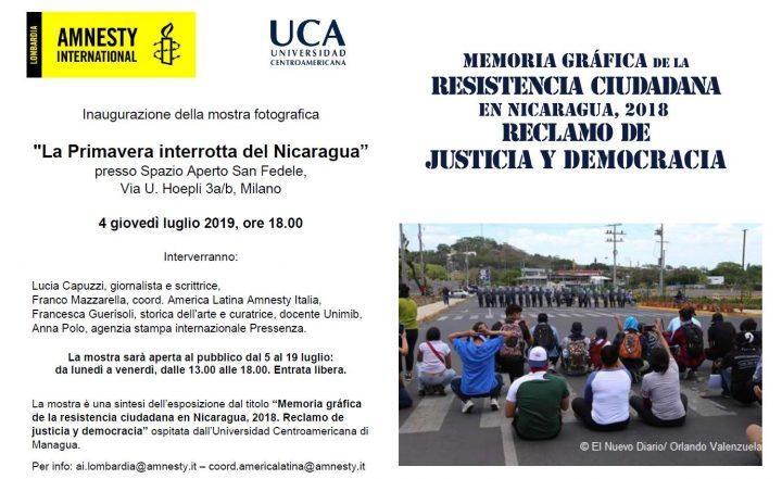 """Inaugurazione della mostra fotografica """"La primavera interrotta del Nicaragua"""""""