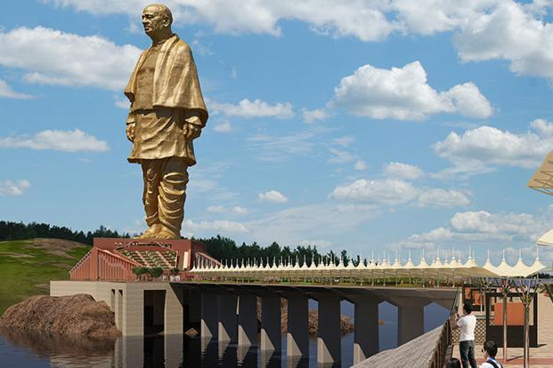Statue of Unity in the middle of Tribal Poverty