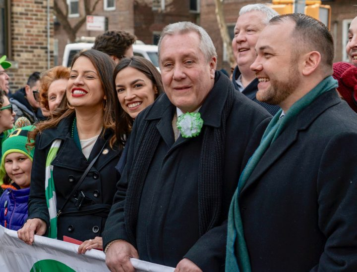 Alexandria Ocasio-Cortez, Council Member Danny Dromm, and Speaker of the City Council, Corey Johnson, St. Pats For All Parade, 2019