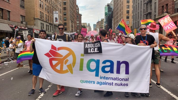 LGBTQ+ anti-nuclear campaigners march during NY Pride 2019