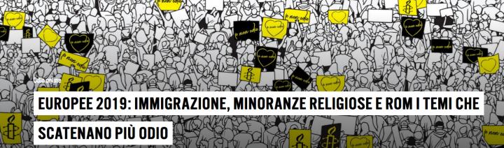 AI, Europee 2019: immigrazione, minoranze religiose e rom i temi che scatenano più odio