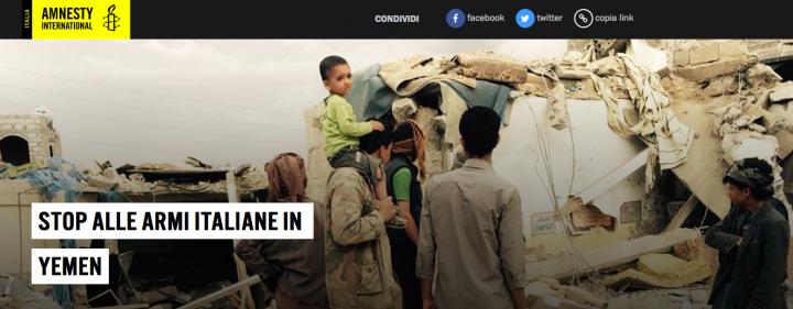 """Conflitto in Yemen: insieme per chiedere """"Stop armi italiane in Yemen"""", dopo l'approvazione della mozione alla Camera"""