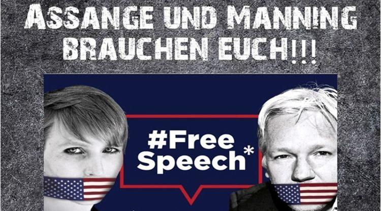 Garde pour Julian Assange tous les mercredis devant la Porte de Brandebourg