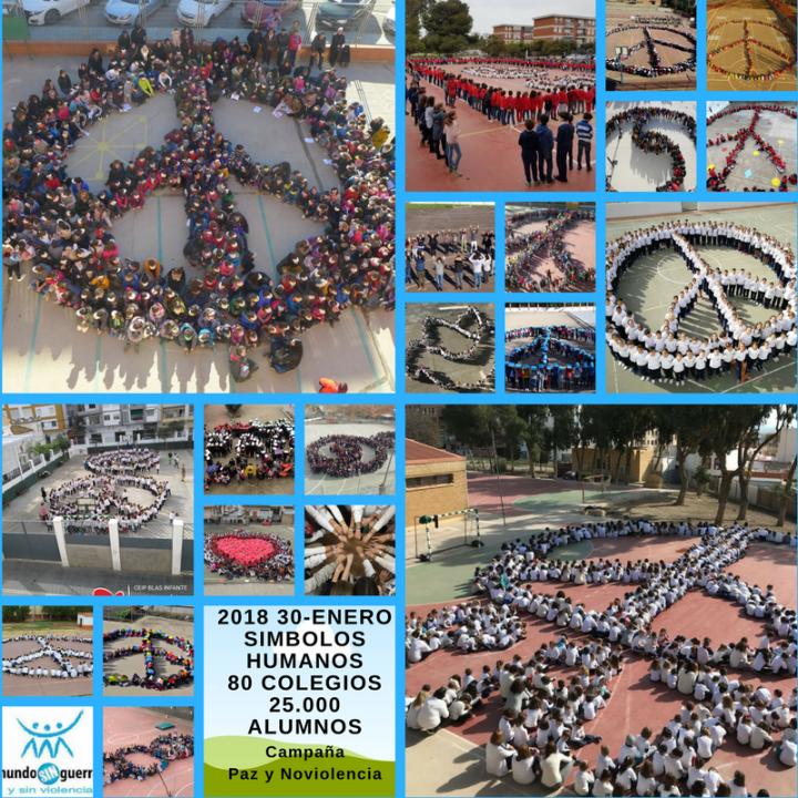 """35 mil alunos de 132 escolas fizeram símbolos humanos na campanha """"Paz e Não-Violência"""""""