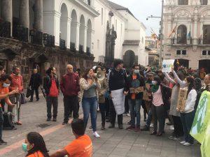 Plantón por el cambio climático en Quito.