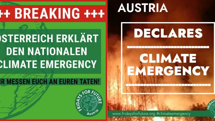 Pressemitteilung von Fridays For Future Austria zur Erklärung des nationalen Klimanotstands durch den österreichischen Nationalrat am 25.09.2019