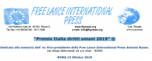 "Roma: Free Lance International Press, ""Premio Italia diritti umani 2019"""