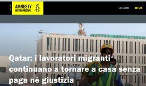 Ricerca di Amnesty sui diritti dei lavoratori migranti del Quatar