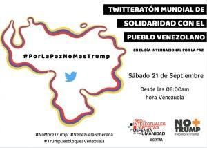 21 de Septiembre: En el Día Internacional de la Paz convocan a Jornada Mundial de Solidaridad con el pueblo venezolano