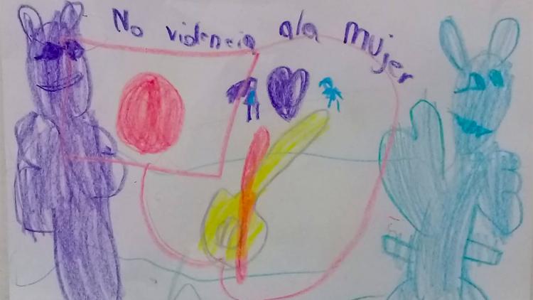 """Dibijo de la actividad """"Una nota por la No Violencia"""" realizado por La Comunidad para el desarrollo humano."""