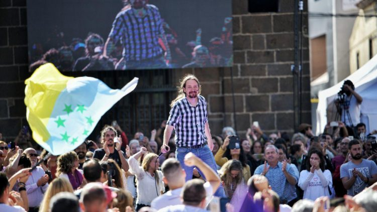 Pablo Iglesias en la última campaña electoral en Tenerife