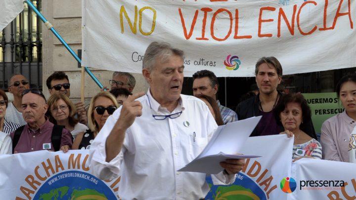 La Seconda Marcia Mondiale per la Pace e la Nonviolenza parte dalla Puerta del Sol,  chilometro zero di Madrid