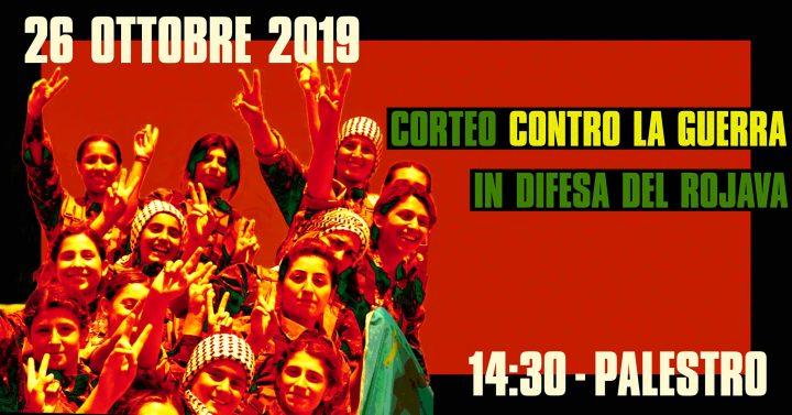 26 ottobre: corteo contro la guerra nel Rojava a Milano
