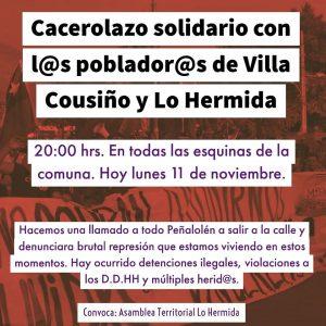 Chile: violentos enfrentamientos en Peñalolén entre Carabineros y pobladores
