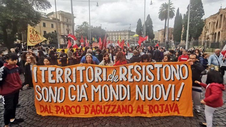Roma manifestazione contro la guerra al Rojava