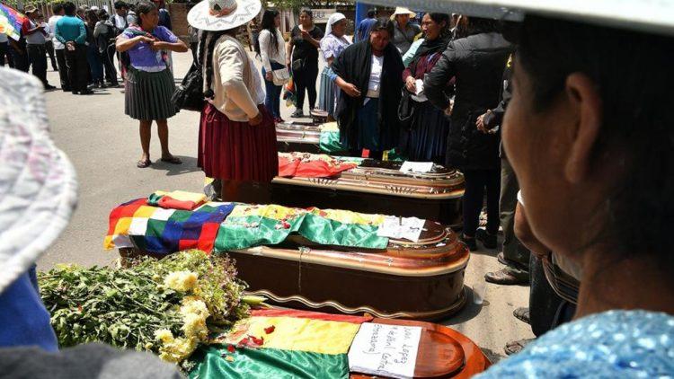 Il funerale di alcune persone morte in Bolivia durante le ultime proteste