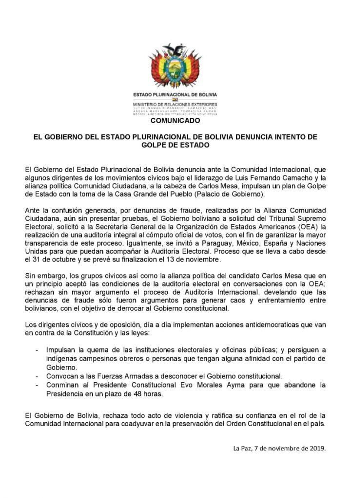 Βολιβία: η κυβέρνηση καταγγέλλει απόπειρα πραξικοπήματος